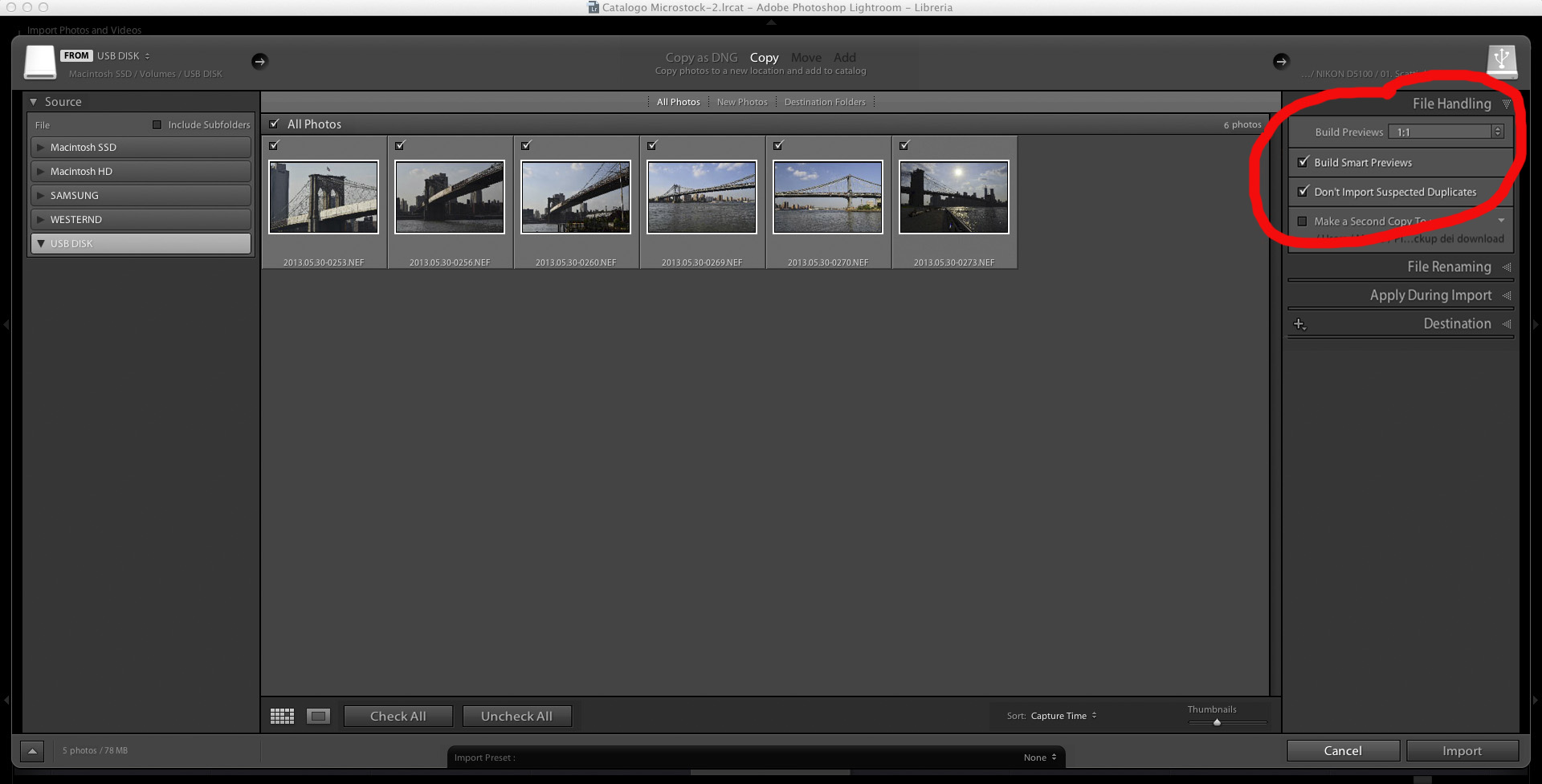 lightroom how to import photos